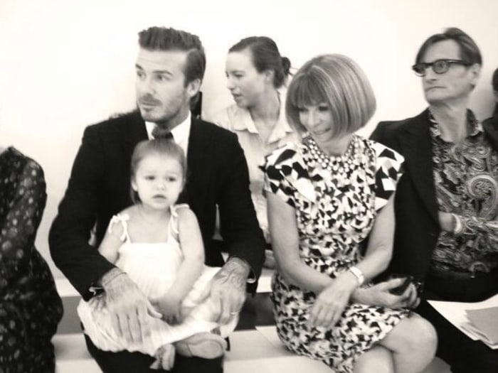 David Beckham and Harper with Anna Wintour at Fashion Week