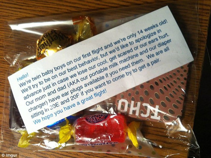 Parents of Twins Offer Passengers Candy on Plane