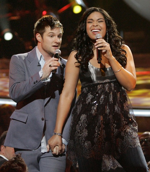"Finalists Jordin Sparks, right, and Blake Lewis perform a duet to, ""I Saw Her Standing There,"" during the finale of American Idol at the Kodak Theatre..."