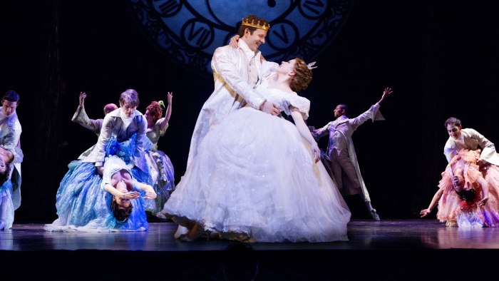 "Star Carly Rae Jepsen dances with Joe Carroll as the Prince in ""Cinderella."""