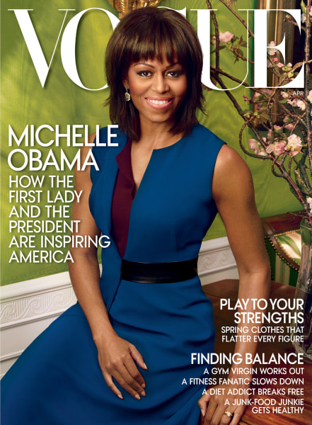 This cover image released by Vogue shows first lady Michelle Obama on the cover of the April 2013 issue of Vogue. The issue is available on newsstands...