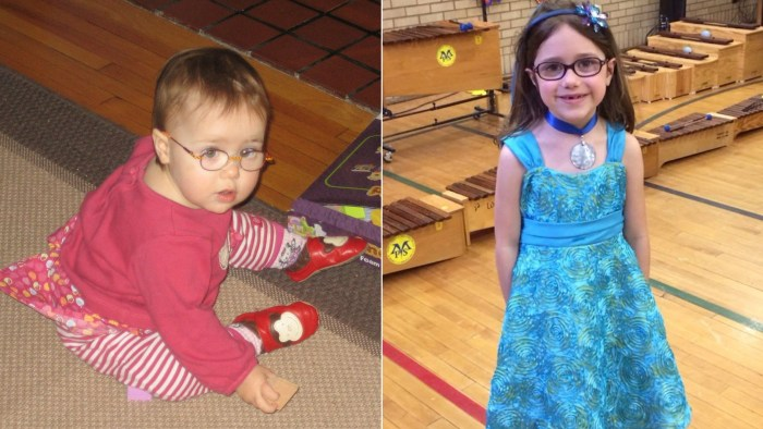 Zoe Zawistoski (at age two, and today)