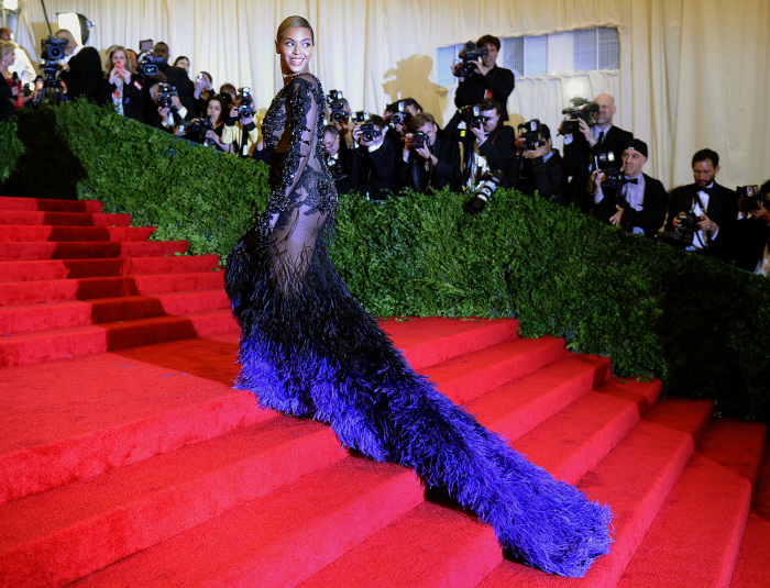 Beyonce attends the Costume Institute Benefit at The Metropolitan Museum of Art May 7, 2012, celebrating the opening of Schiaparelli and Prada: Impossible Conversations in New York.