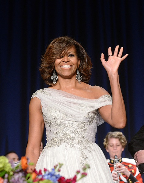 WASHINGTON, DC - MAY 3:  US First Lady Michelle Obama attends the annual White House Correspondent's Association Gala at the Washington Hilton hotel M...