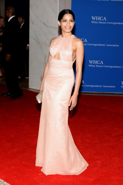 WASHINGTON, DC - MAY 03:  Actress Freida Pinto attends the 100th Annual White House Correspondents' Association Dinner at the Washington Hilton on May...