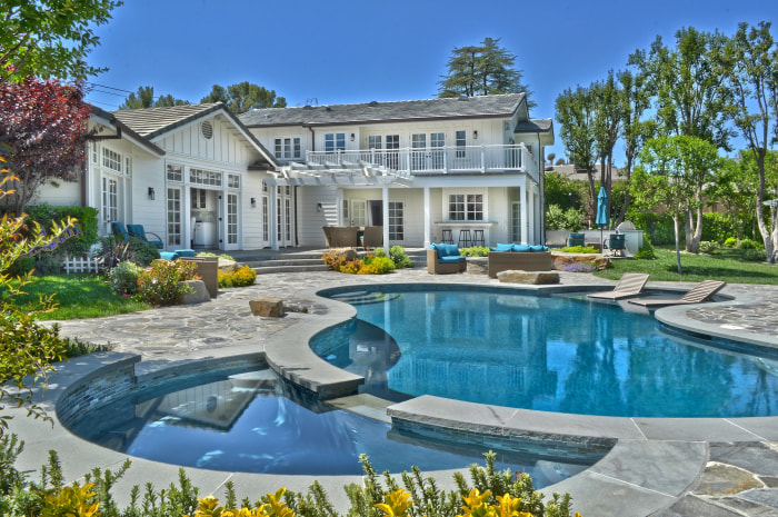 Selena Gomez's six-bedroom, eight-bath gated home sits on a full acre in the San Fernando Valley.
