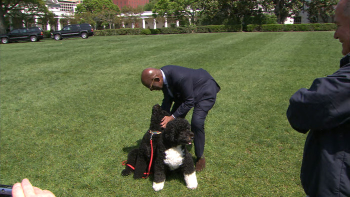 A bonus to spending the day at the White House: Time with the first dogs, Sunny and Bo!