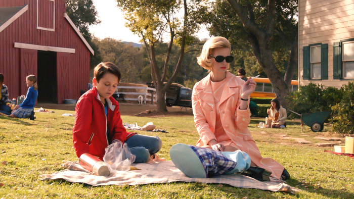 Mason Vale Cotton as Bobby Draper and January Jones as Betty Draper Francis