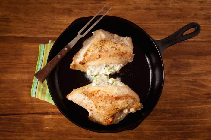 Chicken breasts stuffed with feta and scallions