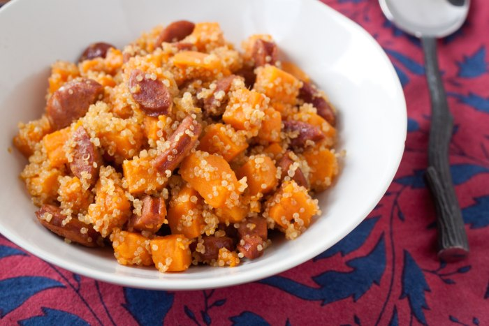 Sweet potato, quinoa and chorizo hash
