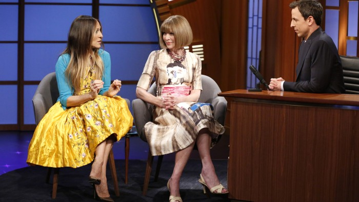 LATE NIGHT WITH SETH MEYERS -- Episode 0043 -- Pictured: (l-r) Actress Sarah Jessica Parker, Vogue editor-in-chief Anna Wintour during an interview wi...