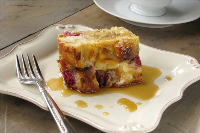 White-chocolate and raspberry bread pudding
