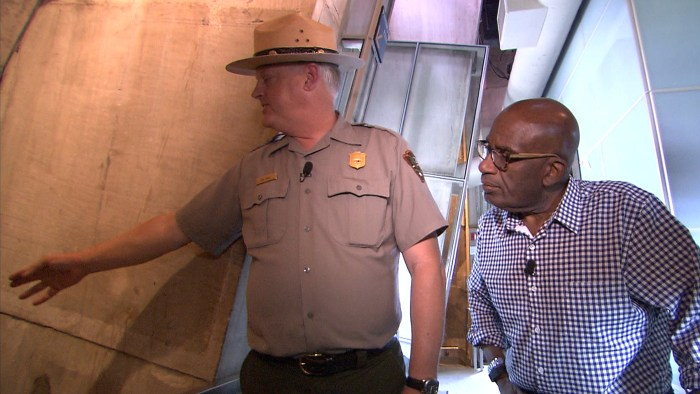 Al's sneak peek inside the monument included a look at the structure, held together by the weight of the stones.