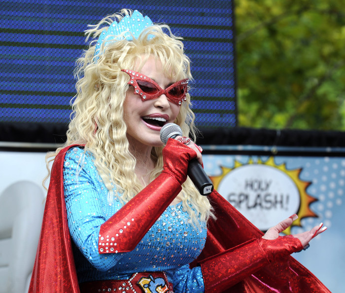 "Dolly Parton appears as ""Splash Woman"" as Dollywood Splash Country announces the addition of a new attraction in Pigeon Forge, Tenn. on Saturday, June..."