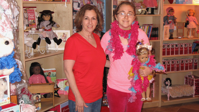 Marjorie Madfis and her daughter Isabelle, 18. Isabelle is an intern at Girl AGain, a small resale boutique for American Girl products in Hartsdale, New York.