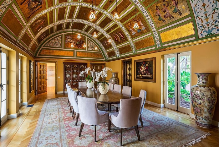 "Painted and gold-leaf ceilings adorn the mansion made famous by the movie ""Scarface."""