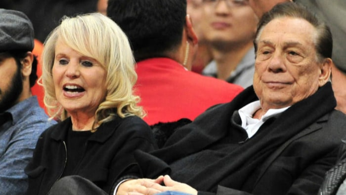 Shelly and Donald Sterling, at a Clippers game. Mrs. Sterling vowed to fight the NBA's attempts to push her out as part owner.