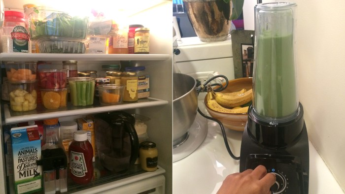 Breakfast of champions: Tamron's fridge and morning juice.