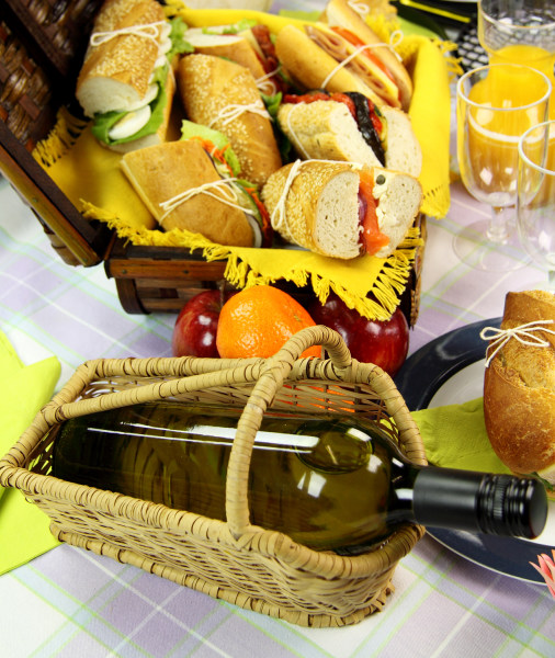 Picnic sandwiches and wine