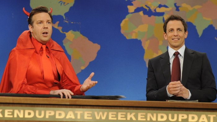 "Jason Sudeikis as the Devil, with ""Weekend Update"" anchor Seth Meyers in 2011."