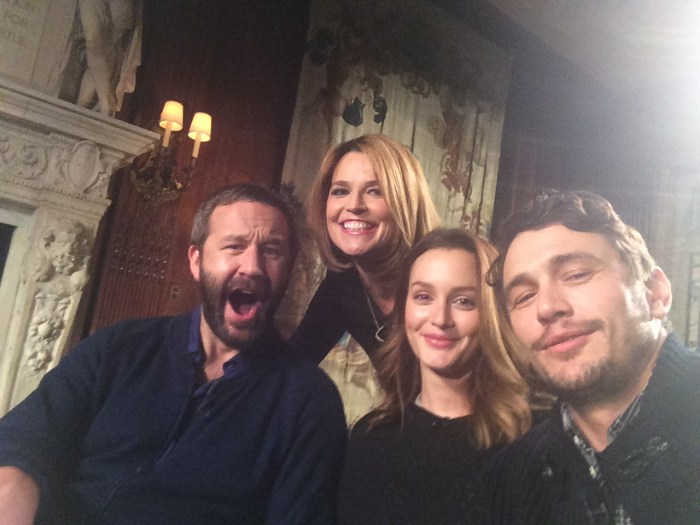 "Selfie time! Savannah poses for one with ""Of Mice and Men"" stars Chris O'Dowd, Leighton Meester and James Franco in March 2014."