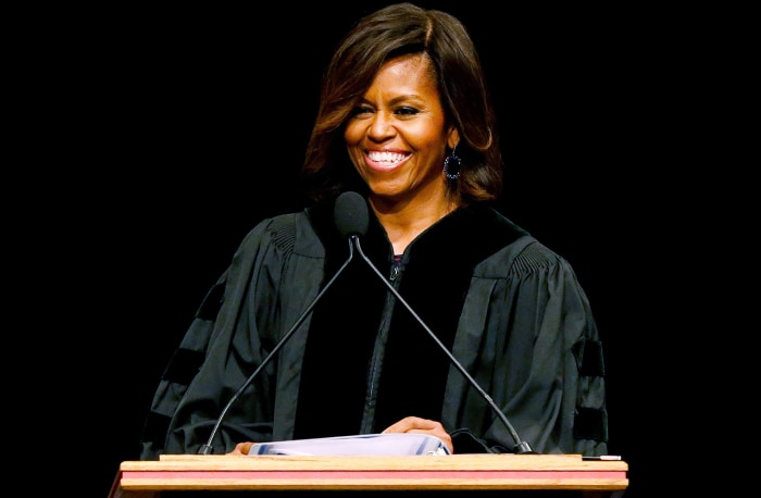 First lady Michelle Obama delivers the commencement address to graduates of Dillard University in New Orleans, Saturday, May 10, 2014. (AP Photo/Jonat...