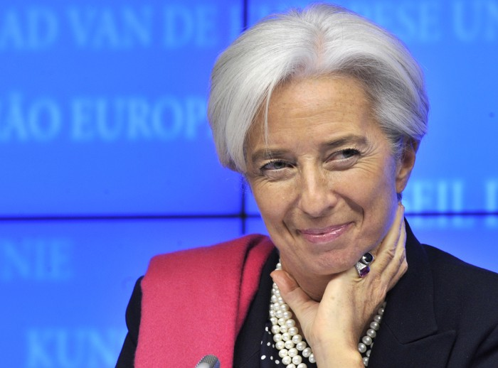 International Monetary Fund Managing Director Christine Lagarde looks on during a press conference following an Eurozone meeting on February 21, 2012 ...