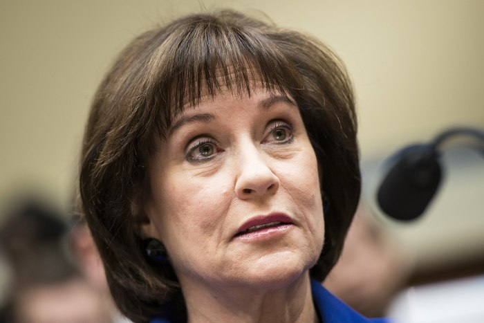 Lois Lerner, former director of the Tax Exempt and Government Entities Division at the Internal Revenue Service(IRS), listens during a hearing of the ...