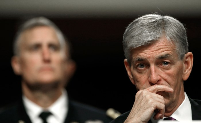 Secretary of the Army John McHugh (R) appears before the Senate Armed Services Committee on Capitol Hill where he addresse...