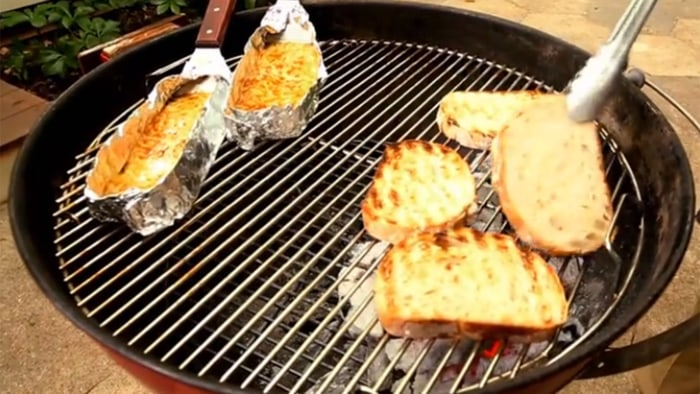 Grilling cheese and bread
