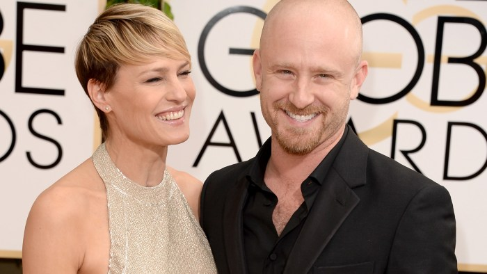 BEVERLY HILLS, CA - JANUARY 12:  Actors Robin Wright (L) and Ben Foster attend the 71st Annual Golden Globe Awards held at The Beverly Hilton Hotel on...