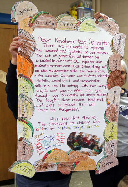 This is a thank you card from students to an anonymous patron at Jose Tejas Restaurant. Students in autism classes at Matthew Jago School who took a C...