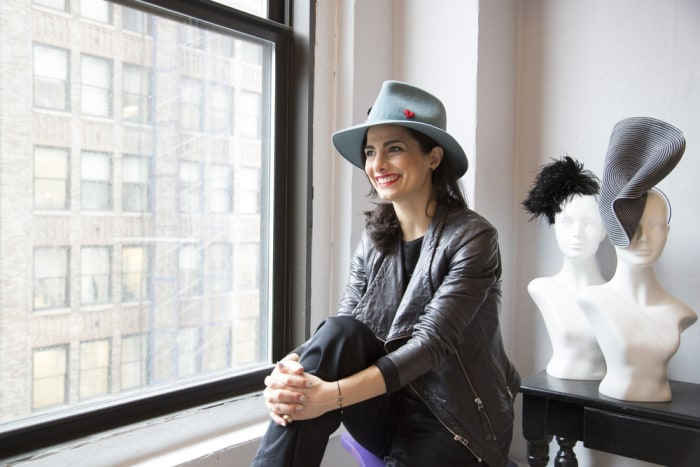 Satya Twena shows off her hat factory in the Garment District of New York City.