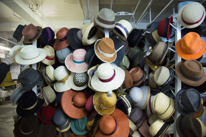 Hats in Twena's factory.
