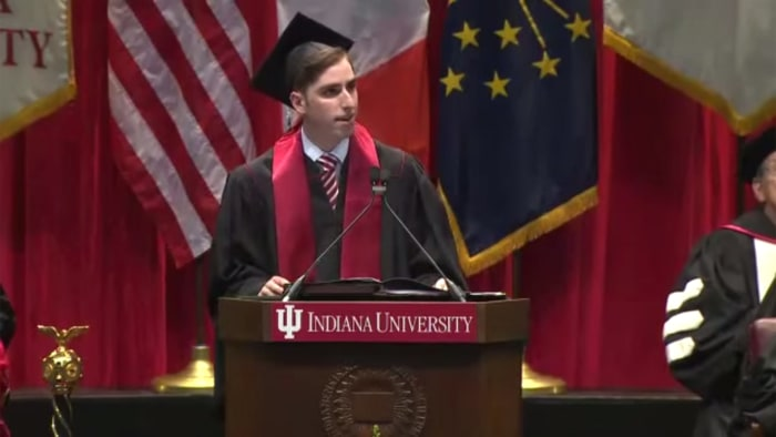 Indiana University graduate Parker Mantell delivers the 2014 commencement address