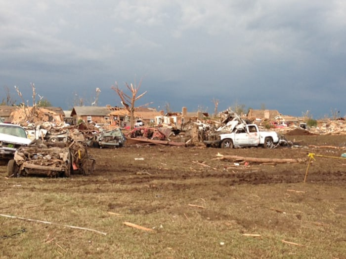 The tornado hit with peak winds estimated at 210 miles per hour.