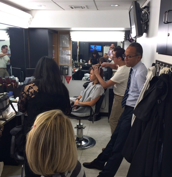 pre-show meeting in the makeup room