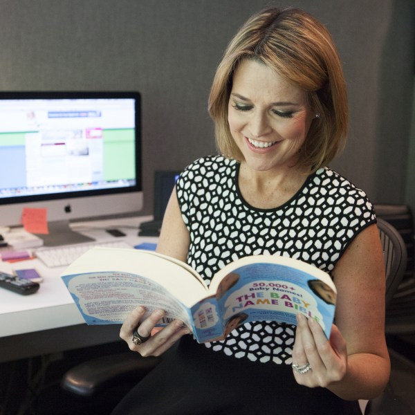 Hmm... Aaron... Aiden... Abby... Adele... Savannah Guthrie peruses a pile of baby name books in her office. Hoping for some inspiration, perhaps?