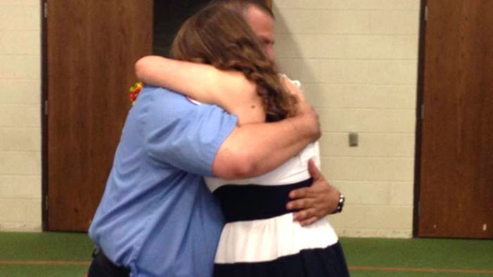 Skyler James, 18, reunites with the firefighter who saved her as a newborn, Charlie Heflin
