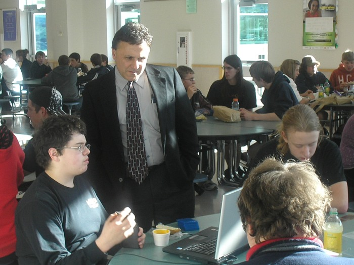 DeAngelis with students at Columbine.