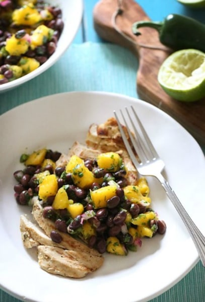 Grilled chicken with black bean and mango salsa