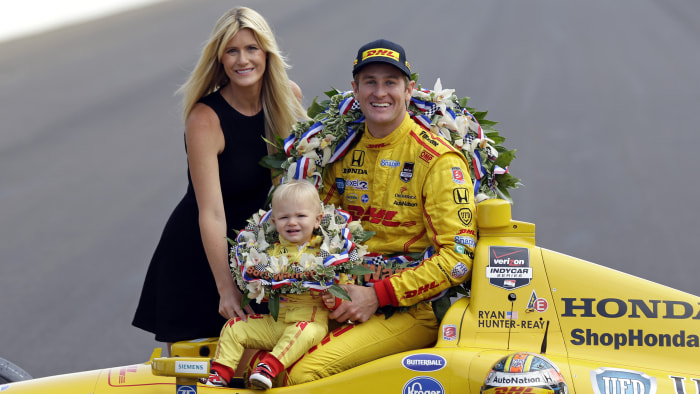 Hunter-Reay celebrated with his family after becoming the first American to win the Indianapolis 500 since 2006.