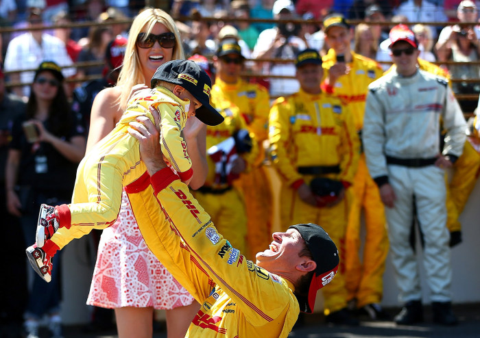 One-year-old Ryden Hunter-Reay's firesuit is an exact replica of his father's, right down to the sponsor logos.