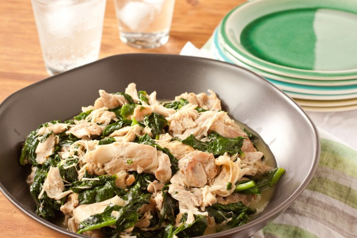 Coconut-milk-braised chicken with spinach