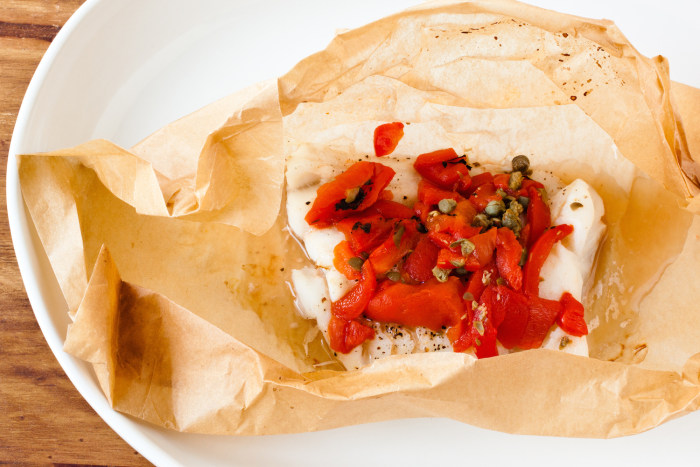 Parchment-roasted Mediterranean fish fillets