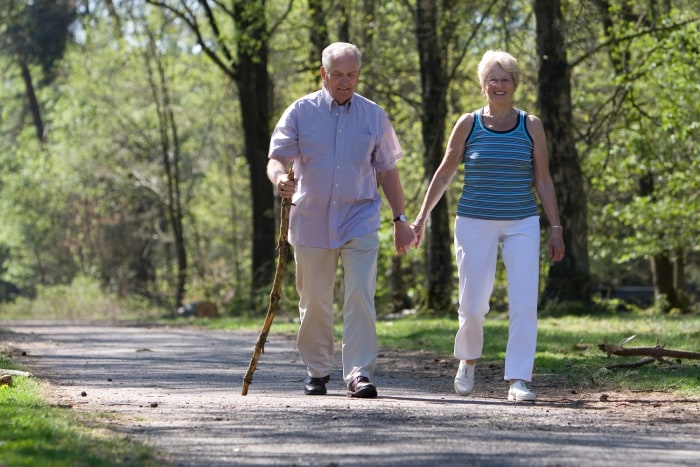 Elderly couple walking through the park hand in hand