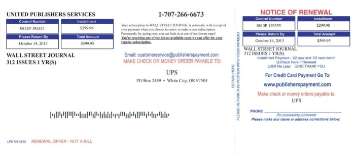 New York And Company Credit Card Payment >> Beware of scam newspaper subscription notices - TODAY.com
