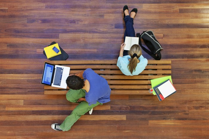 Top view of male and female university students studying; Shutterstock ID 150587642; PO: TODAY.com