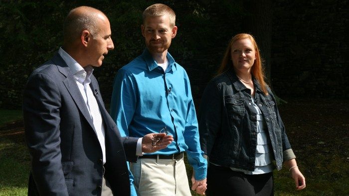 Matt Lauer with Dr. Kent Brantly and his wife, Amber.