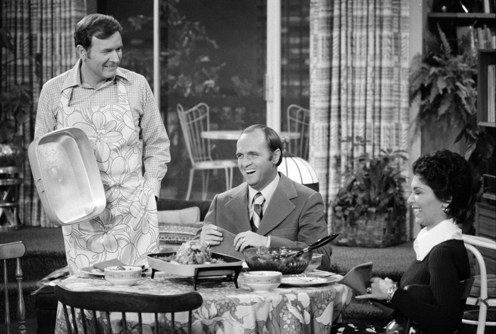 """Image: """"The Bob Newhart Show,"""" featuring (from left) Bill Daily (as Howard Borden); Bob Newhart (as Dr, Bob Hartley) and Suzanne Pleshette (as Emily Hartley)."""